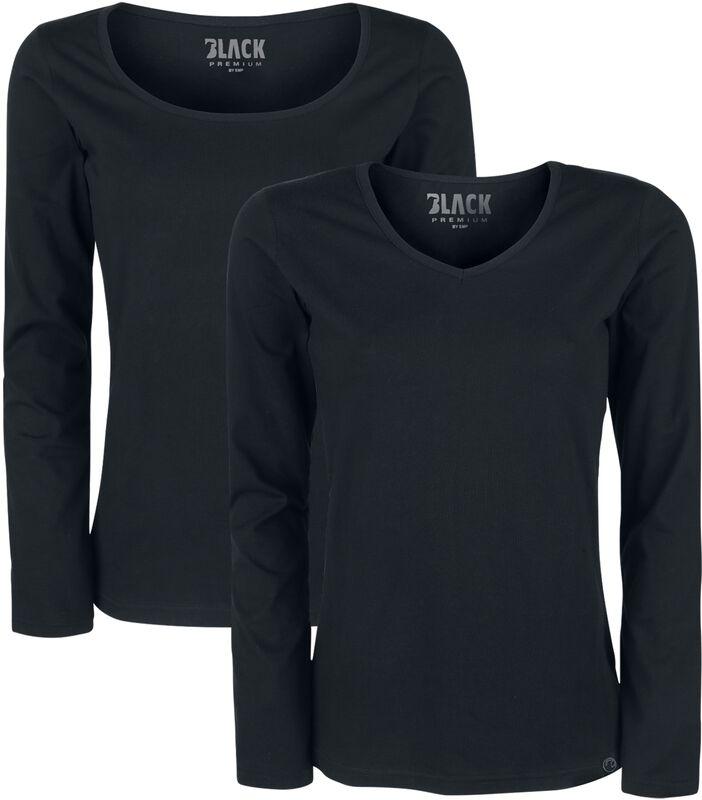 Musta pitkähihainen paita (toinen pyöreällä pääntiellä ja toinen V-kaula-aukolla - 2 kpl setti)