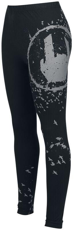 Mustat leggingsit Rockhand-painatuksella
