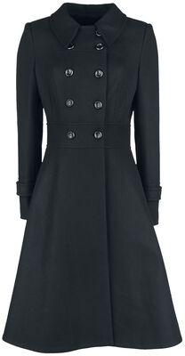 Grace Double Breasted Black Pleat Coat