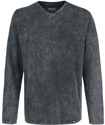 Pitkähihainen paita, jossa V-kaula-aukko ja erikoispesty kangas