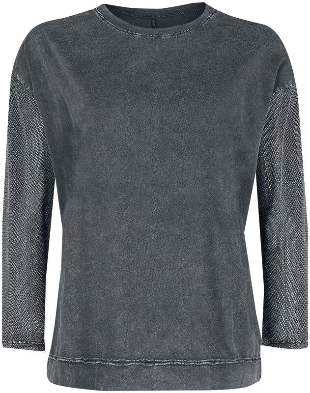 Harmaa pitkähihainen paita läpikuultavilla hihoilla