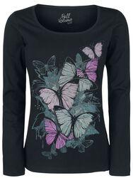 Pitkähihainen paita perhospainatuksella
