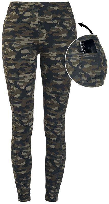 Olivfarbene Camo-Leggings mit seitlichen Taschen
