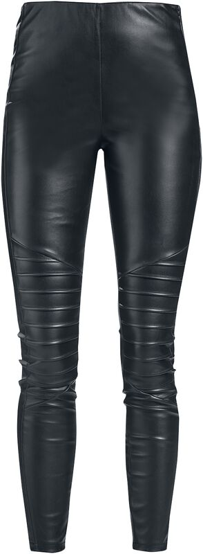 Mustat nahkatyyliset leggingsit prätkätikkauksilla