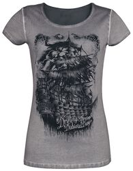 Grey T-Shirt with Wash and Print
