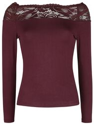 Red Long-Sleeve Top with Lace