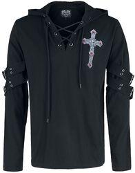 Gothicana X Anne Stokes - musta pitkähihainen paita painatuksella ja nyöreillä