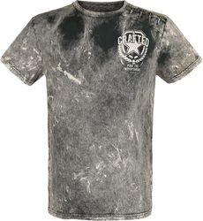 Harmaa T-paita merkeillä ja erikoispesulla