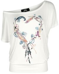 Weißes T-Shirt mit Rundhalsausschnitt und Print