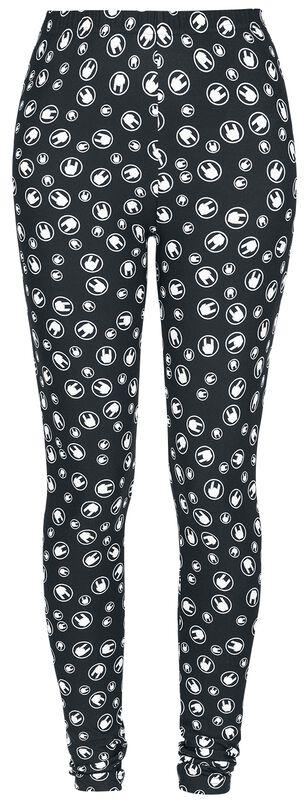 Mustat leggingsit Rockhand-all-over-painatuksella
