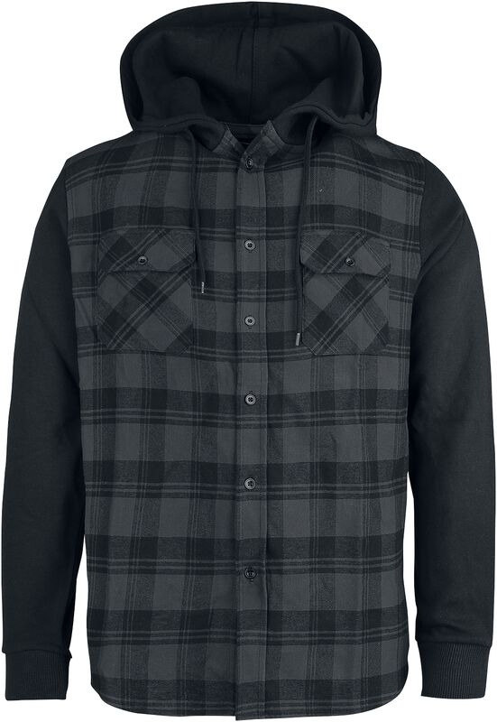 Hooded Checked Flanell Sweat Sleeve Shirt