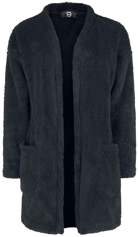 Musta pörröinen villatakki