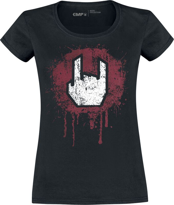 Musta T-paita Rockhand-painatuksella
