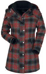 Musta/punainen takki ruutupainatuksella