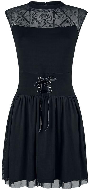 Musta mekko verkkokankaalla, nyöreillä ja painatuksella