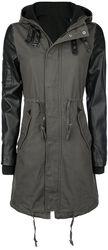 Imitation Leather Sleeves Army Jacket