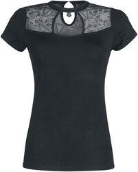 Musta T-paita läpinäkyvillä yksityiskohdilla