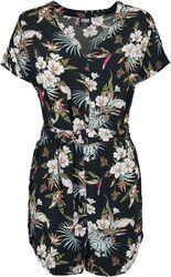 Ladies Short AOP Flower Viscose Belt Jumpsuit haalari