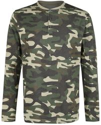 Camouflage Longsleeve with Button Placket