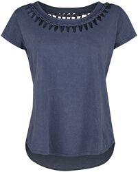 Sininen T-paita erikoispesulla ja nyörityksillä