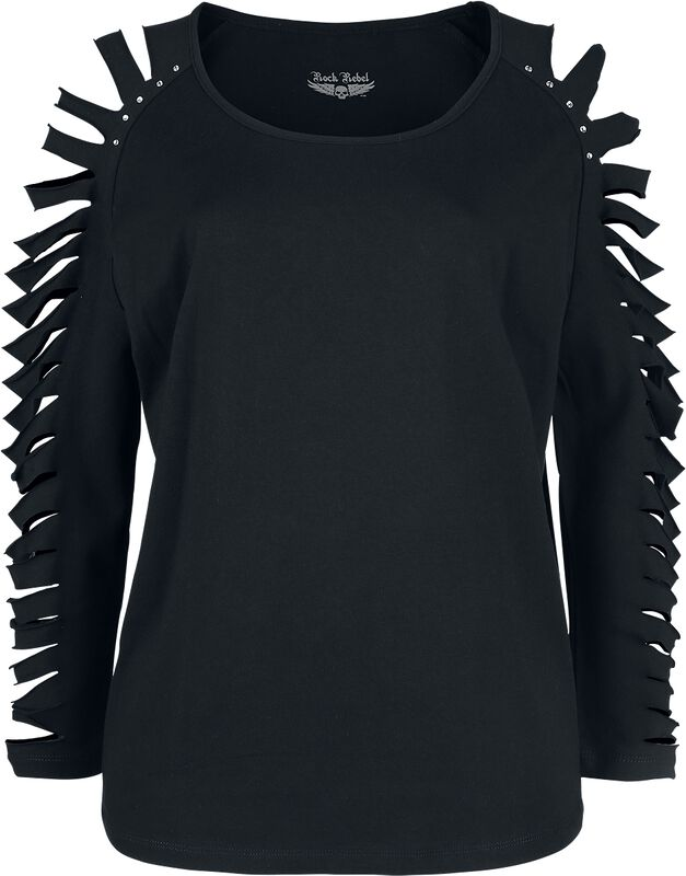 Musta pitkähihainen paita leikkauksilla