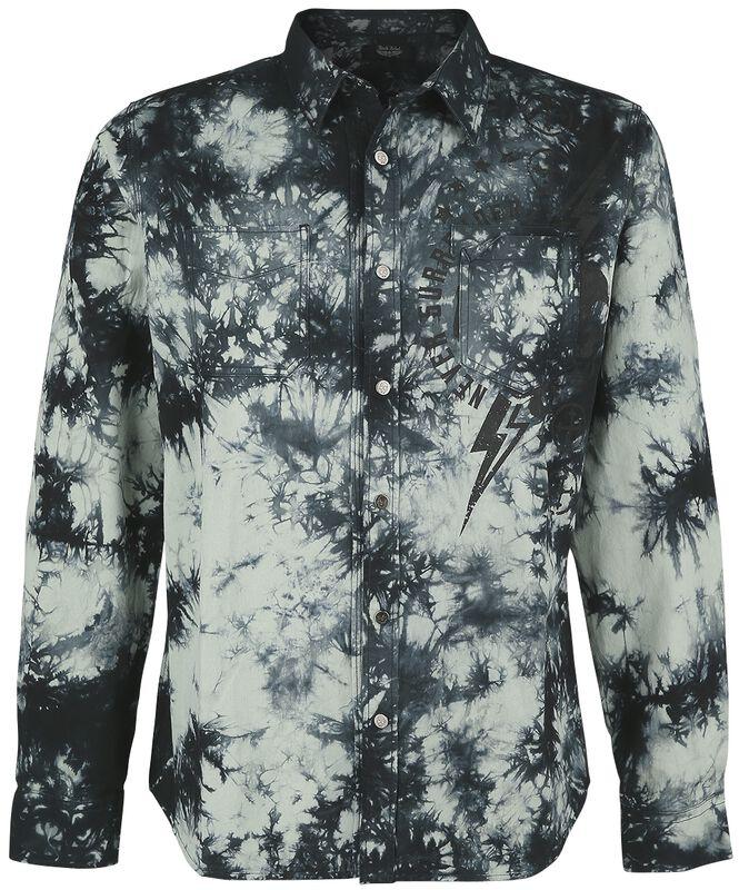 Oliivinvihreä paita batiikkivärjäyksellä