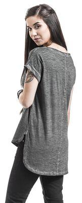 Ladies Long Back Shaped Spray Dye Tee T-paita