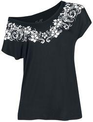 Musta T-paita painatuksella ja pyöreällä pääntiellä