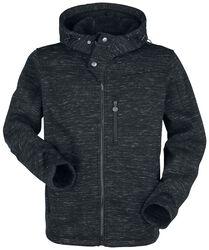 Musta pilkullinen takki hupulla
