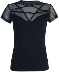 Musta T-paita pitsiosiolla ja pentagrammikuviolla