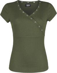Oliivinvihreä T-paita V-kaula-aukolla ja reikäniiteillä