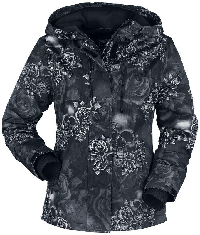 Musta takki, jossa all-over-painatus
