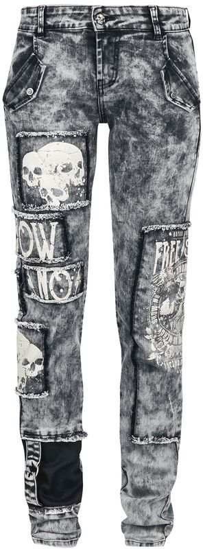 Skarlett - graue Jeans mit starker Waschung, Prints und Patches