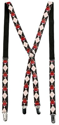 Suspenders with Red Skulls