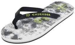 RED X CHIEMSEE - valkoiset/mustat sandaalit logo-painatuksella