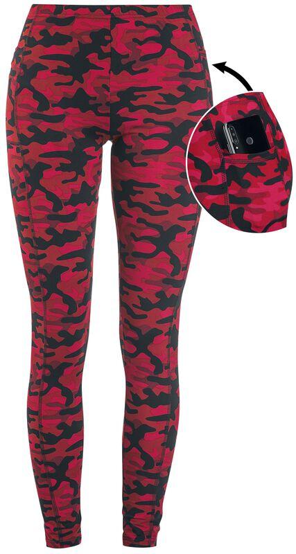 Punaiset camo-kuvioidut leggingsit sivutaskuilla