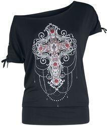 Gothicana X Anne Stokes - musta T-paita painatuksella ja nyöreillä