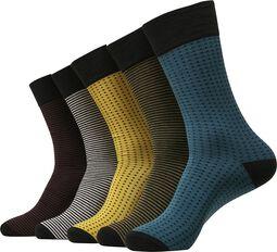 Raidallisia ja pilkullisia sukkia (5 kpl setti)