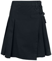 Schwarzer Kilt mit seitlicher Tasche und Print