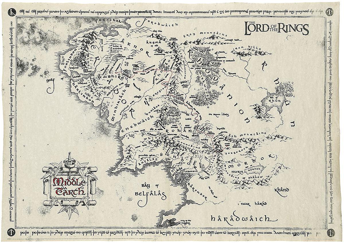 Middle Earth Map Taru Sormusten Herrasta Juliste Emp