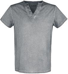 Graues T- Shirt mit V- Neck und dezentem Print