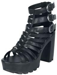 Schwarze High Heels mit Riemen und Nieten