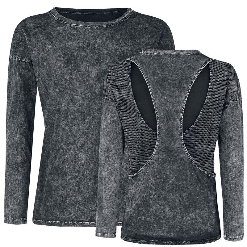 Harmaa pitkähihainen paita erikoispesulla ja racerback-selkämyksellä