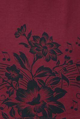 T-paita kukka- ja nuottipainatuksilla