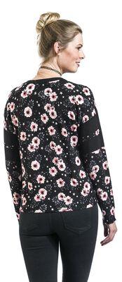 Kukkakuvioinen collegetyylinen neuletakki