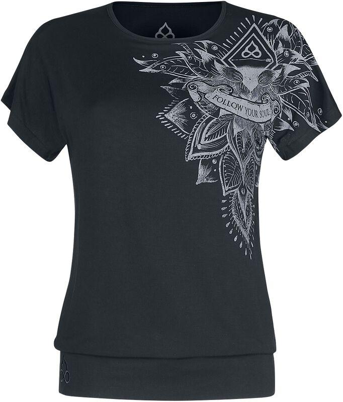 Sport and Yoga - rento musta T-paita yksityiskohtaisella painatuksella