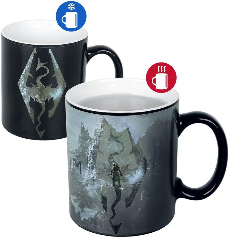 V - Skyrim - Dragon Symbol - Lämpöön reagoiva muki