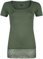 Green T-Shirt with Lace Seam Black Premium