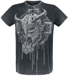 Harmaa T-paita, jossa painatus, erikoispesty kangas ja nappilista