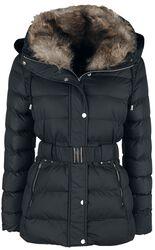 Belted Fur Collar Puffer Coat